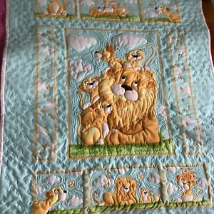 Hand made fun nursery Trapunto cot quilt or wall hanging.