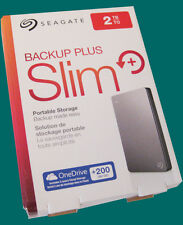 New Seagate Slim 2TB External HD / Hard Drive -Backup Plus -Silver-Gray
