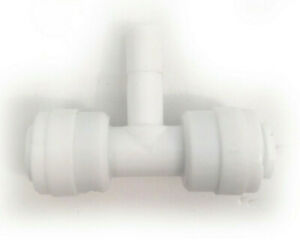 White Push Fit Branch Run Tee 1/4 inch to 1/4 inch