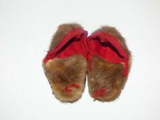 "Vintage Miniature Doll Rabbit Fur Slippers/ Moccasins 2 5/8"""