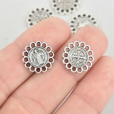 10 Religious Medal Charms, Silver Relic double sided Patron Saint 15mm chs5557a