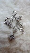 "9CT White Gold Round Baguette Cut Diamond Snowflake Cluster Pendant 18"" Necklace"