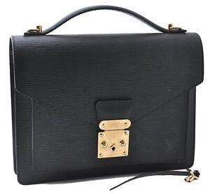 Authentic Louis Vuitton Epi Monceau Hand Bag Briefcase Black M52122 LV A8046
