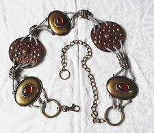 ANGLO SAXON STYLE UNISEX BELT ANTIQUED METAL AMULETS & CHAIN STONES CORD LEATHER