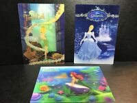 Lot Of 3 Disney Princess Holographic Postcards: Little Mermaid Cinderella Tink