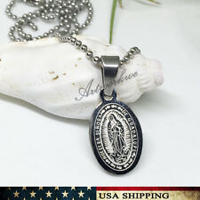 Unisex's Men Women Silver Stainless Steel Our Lady Of Guadalupe Pendant Necklace