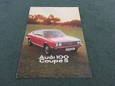 August 1975 / 1976 Model AUDI 100 COUPE S - UK BROCHURE