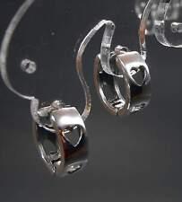 NEU 925 Silber 13mm CREOLEN HERZE silber KLAPPCREOLEN 5mm BREIT Herz OHRRINGE