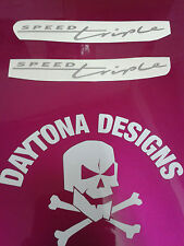 SPEED TRIPLE CUSTOM FAIRING PANEL SILVER GRAPHICS DECALS STICKERS