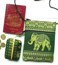 Summer bag set with green passport shoulder bag & matching coin purse