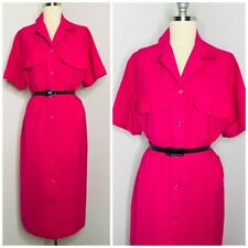 Vintage Sears Shirt Dress Size 10 Pink Chest Pockets Button Front Collared 70s