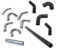Aluminium Universal Alloy Intercooler Pipe Elbow & Black Silicone Hose Pipework