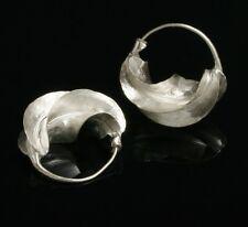 """SMALL  Fulani sterling silver hoop earrings """"kwotene kange""""  African (7/8"""" wide)"""