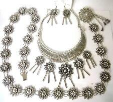 Belt earring necklace silver plate women set dress vintage tribal Thai tradition
