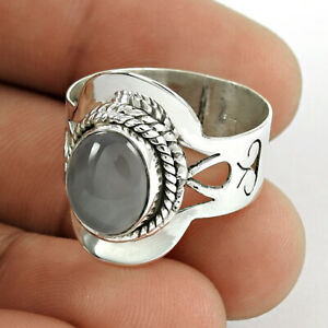 Oval Shape Chalcedony Gemstone Ring Size 8 925 Sterling Silver Fine Jewelry Q4