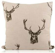 Handmade Fryetts Charcoal Country Stag/Deer Head linen Style Filled Cushion