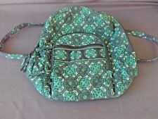 LARGE GEOMETRIC  DESIGN GREEN QUILTED 3 ZIPPERED SCHOOL BACKPACK.