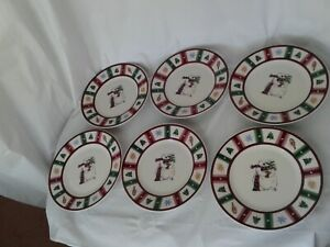 Pfaltzgraff Snow Bear Christmas Holiday Salad Plate Set of 6 Excellent