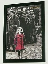 More details for schindlers list iconic film scene a4 poster girl in red nazi death camp