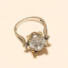 Turkish Two Tone Eid Fine Jewelry Russian White Topaz Ring 925 Sterling Silver
