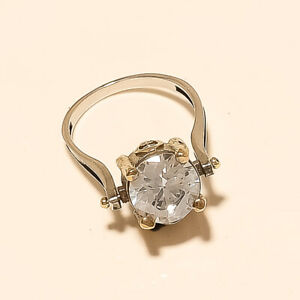 Russian White Topaz Ring 925 Sterling Silver Turkish Two Tone Eid Fine Jewelry