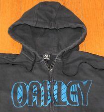 OAKLEY Full Zip Hoodie Sweatshirt Men's SMALL S Black Spray Paint Graffiti
