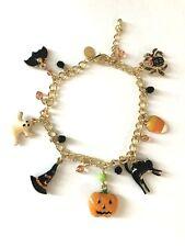 Halloween 3 D Charms Bat/Spider/Candy/Black Cat/Pumpkin/Witch Hat/Ghost Bracelet