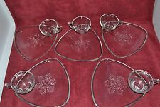 VINTAGE INDIANA GLASS SNOWFLAKE SNACK TRAY 10 PIECE SET  CHRISTMAS PARTY PLATES