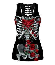 Women Party Halloween Skeleton Skull Rose Bride Costume Tank Tops Tee T-shirt