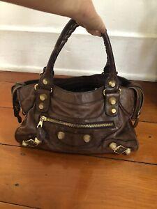 Balenciaga City Bag Tan Leather Gold Stud