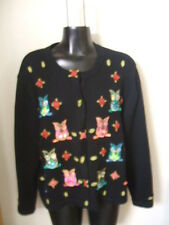 Jack B. Quick Cardigan Sweater OWLS Large Hidden Button Front Bling Beads L Art