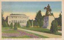 Vintage POSTCARD c1939 Public Library South African Memorial CALGARY, AB 17735