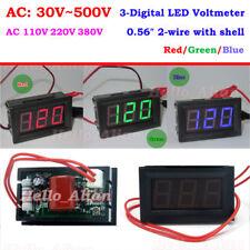 Mini Ac 30 500v 3 Digital Led Voltmeter Panel Voltage Guage Meter 110v 220v 230v
