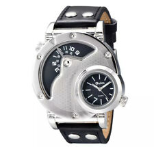 New Design Dual Time Zone Watch Male Fashion PU Leather Luxury Wristwatch Cute