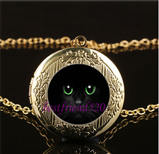 Black Cat Green Eye Photo Glass Gold Plating Chain Locket Pendant Necklace
