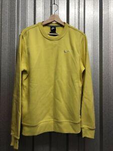 Nike Mens Sweatshirts Jumper Tops Medium Crew Style Yellow
