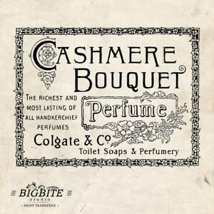 Water Decal Print Transfer –Vintage French Label: Cashmer Perfume #032