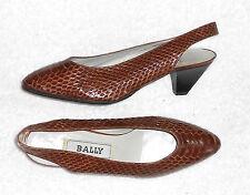 BALLY vintage escarpins cuir serpent verni marron cognac P 37 ½ = 36 ½   TBE
