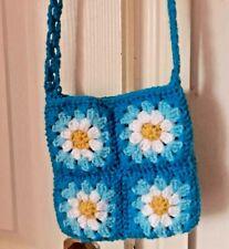 blue crochet flower cross-body bag, boho hippie 70s free people style