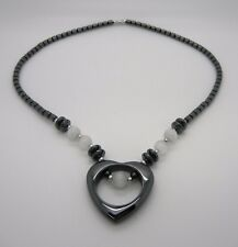 """18"""" Black Hematite Heart Necklace With White Cat's Eye Beads~Screw Barrel Clasp"""