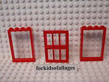 """Lego City Windows & Door Lot-A Red Frames w/Clear """"Glass"""" Hospital Fire Station+"""