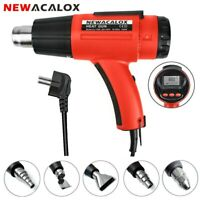 NEWACALOX EU 220V 1500W Heat Gun Hot Air LCD Screen Temp Adjustable + 5 Nozzles