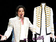 Original Michael Jackson Bad Cosplay Costume Men's White Jacket Coat Custom Size