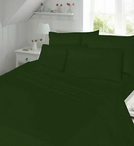 Percale Emerald Dark Green Fitted Flat Valance Bed Sheets Non Iron All Sizes