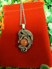 Silver Dragon Quartz Crystal Ball Gemstone Pendant Necklace Game Of Thrones