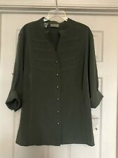 Kathy Che ~Size 22-24W Military Blouse~Olive Green~NEW~Retail $40