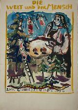 Kurt Bunge - Die Welt und der Mensch / Weihnachtsszene - Aquarell - 1936