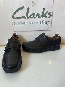 Clarks Flexlight Comfy Black Leather Shoes Size UK 9 EU 43 Extra Wide Fit