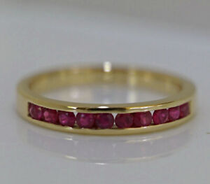 R165 Genuine 9K or 18K Gold Natural Ruby Ring Eternity Channel Wedding Band