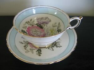 PARAGON GREEN HYDRANGEA WIDE MOUTH TEA CUP AND SAUCER